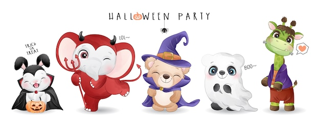 Cute animal for halloween day with watercolor illustration