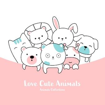 귀여운 동물 손으로 그린 스타일