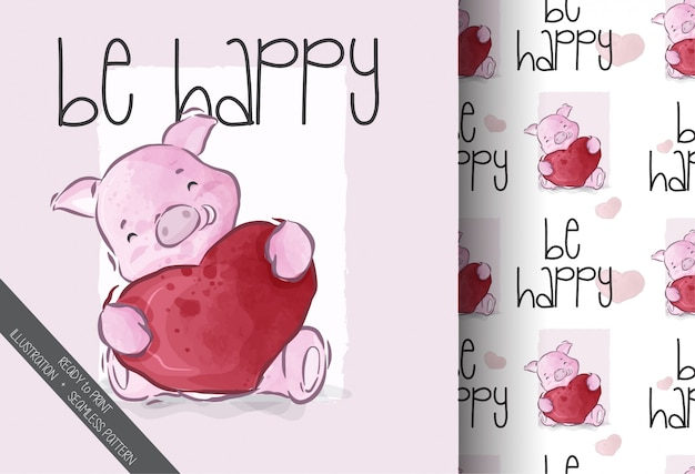 Cute animal happiness pig with seamless pattern