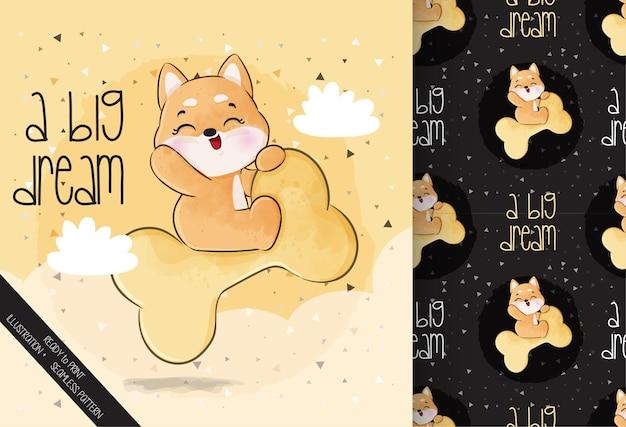Симпатичные животные счастливы летать щенок на большой кости бесшовные модели