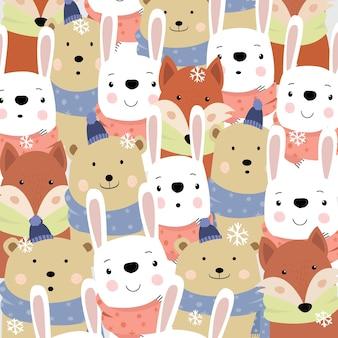 Симпатичные животные счастливы на зимний мультфильм.