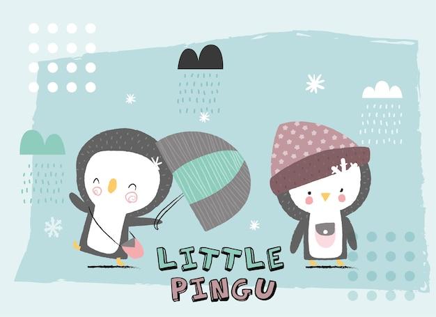 Cute animal happy penguin chalk style illustration
