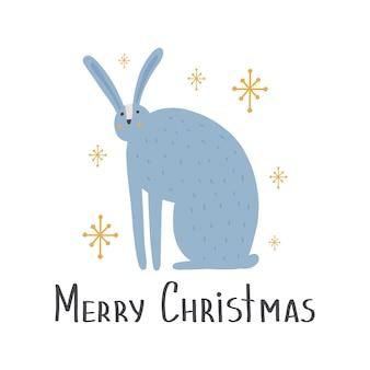 Cute animal hare in scandinavian style with lettering - merry chrastmas. cartoon animal.