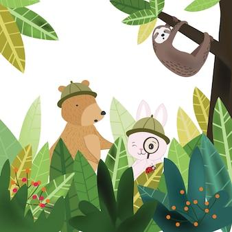 植物の熱帯フォレストで楽しんでいるかわいい動物。