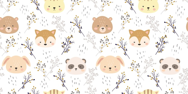 Cute animal head and floral illustration in seamless pattern