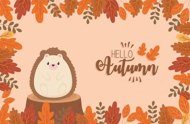 Cute animal hello autumn season frame