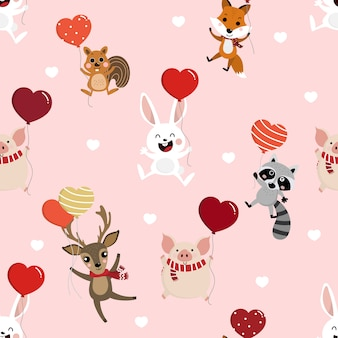 Cute animal hold the heart balloons seamless pattern