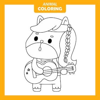 귀여운 동물 말 음악가 직업 직업 색칠 페이지