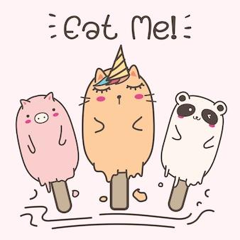 Симпатичные животные мороженое.