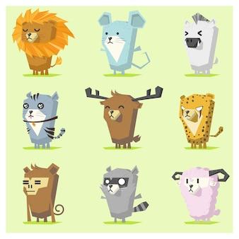 Cute animal icons set