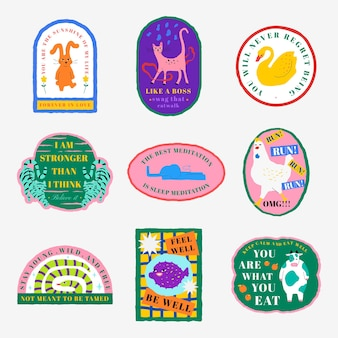 Cute animal illustration badge vector motivational quote set