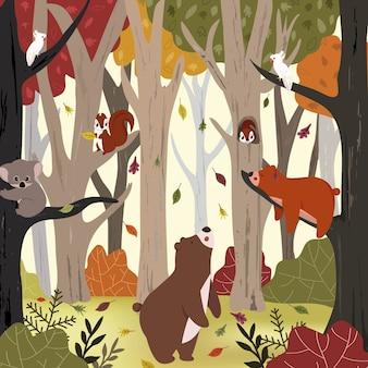 가을 숲에서 귀여운 동물.