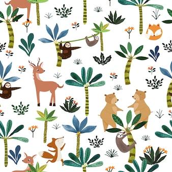 식물 열 대 숲 원활한 패턴에 귀여운 동물.