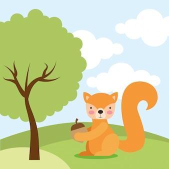 Милый мультфильм животных в природе Premium векторы
