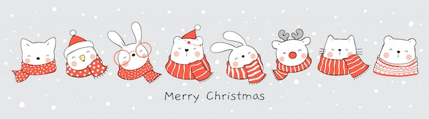Милое животное в снегу на рождество и новый год.