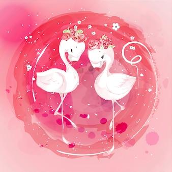 수채화 스타일의 귀여운 동물