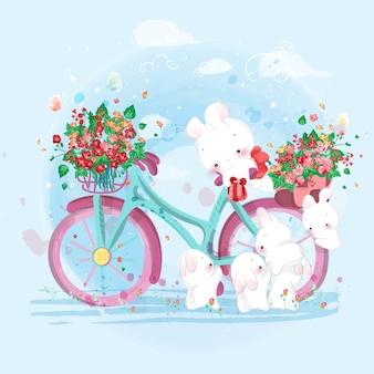 水彩風のかわいい動物。