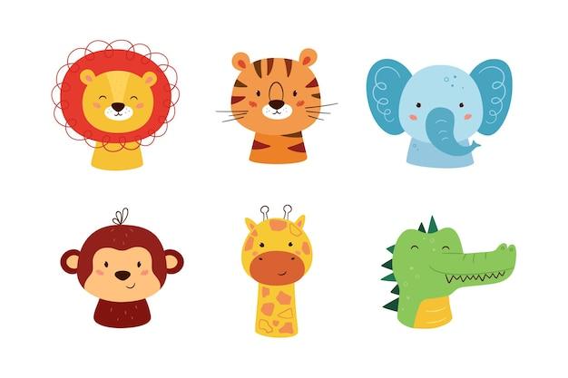 かわいい動物のカワイイキャラクター。面白いライオン、トラ、キリン、象、猿、ワニ。野生動物の顔。白い背景で隔離のベクトルイラスト。
