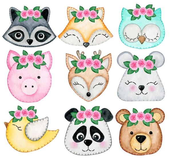 Cute animal kids faces raccoon owl fox pig bird bear panda mouse deer boho watercolor collection