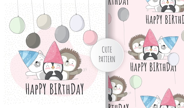 Cute animal kitten birthday party  pattern set