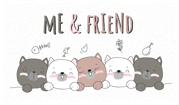Cute animal kitten with best friend illustration for kids