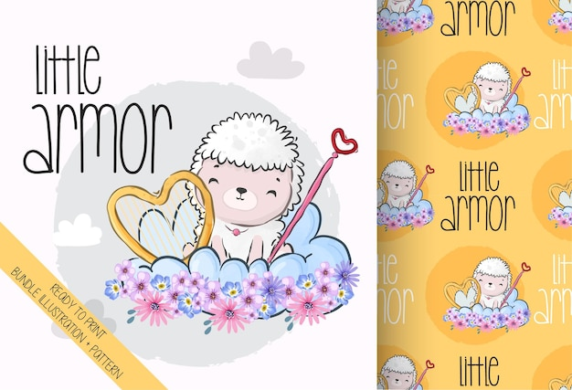 Cute animal little angel baby sheep with seamless pattern