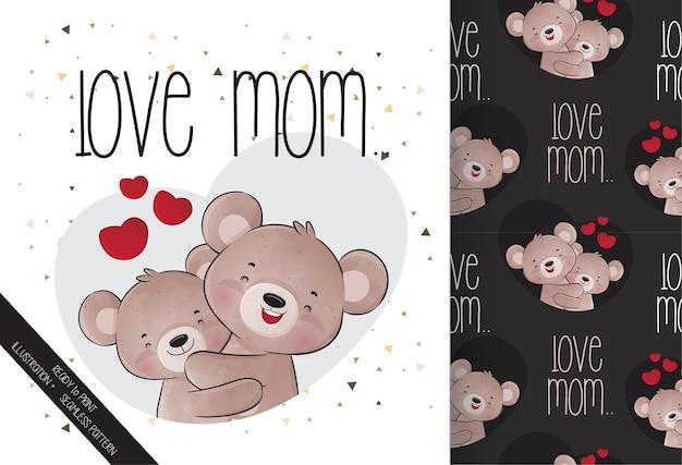 Милый зверек медвежонок с любовью обнимает медведицу-маму