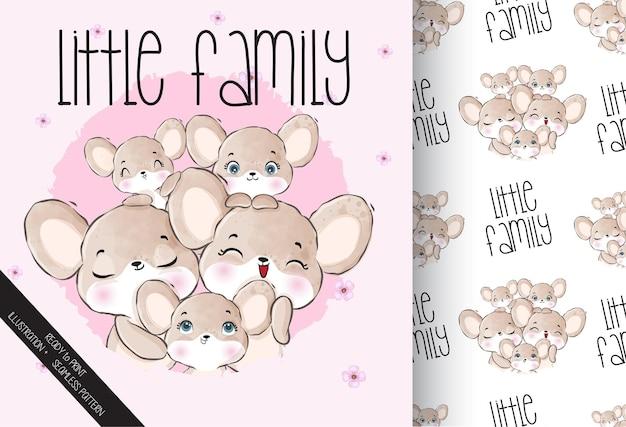 シームレスなパターンでかわいい動物の小さな家族のマウス