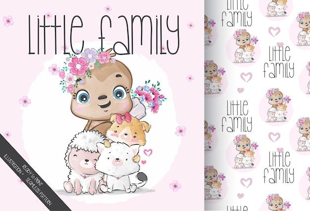 シームレスなパターンでかわいい動物の小さな家族。かわいい漫画の動物。
