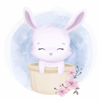 バケツにかわいい動物の小さなウサギ