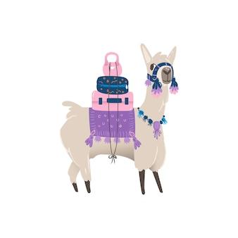 귀여운 동물 라마 또는 알파카는 가방과 함께 물품과 수하물을 운반합니다.