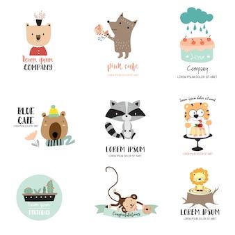Cute animal logo for kid shop