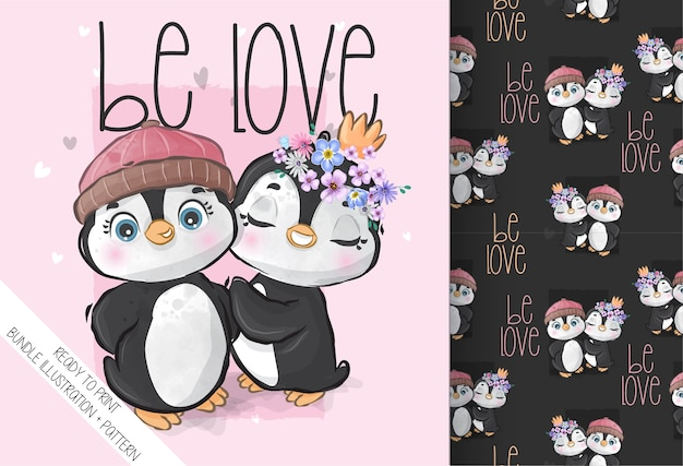 Cute animal lovely baby penguin seamless pattern. cute cartoon animal.