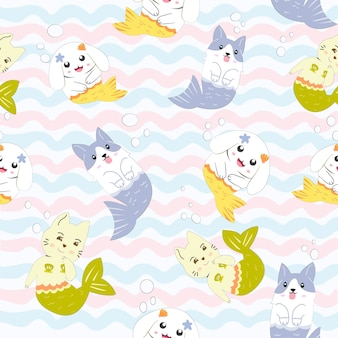 Cute animal mermaid cartoon seamless pattern.
