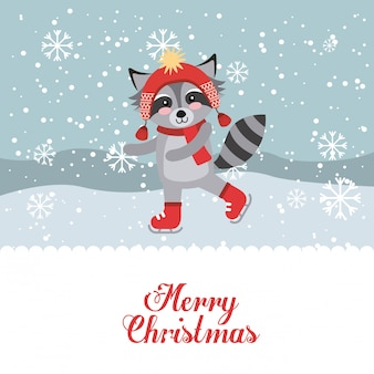 Cute animal merry christmas isolated icon
