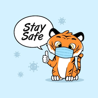 Cute animal message to stay safe waring protective mask