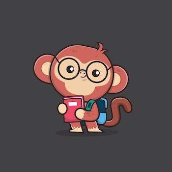 Cute animal monkey back to school illustration