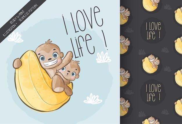 月のシームレスなパターンで幸せなかわいい動物の猿。かわいい漫画の動物。