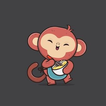 귀여운 동물 원숭이 마스코트 그림