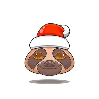 サンタの帽子をかぶったかわいい動物モンスターの頭のイラスト