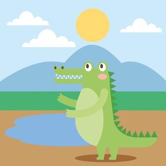 Cute animal in nature cartoon