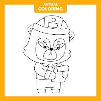 귀여운 동물 numbat 직업 직업 색칠 페이지
