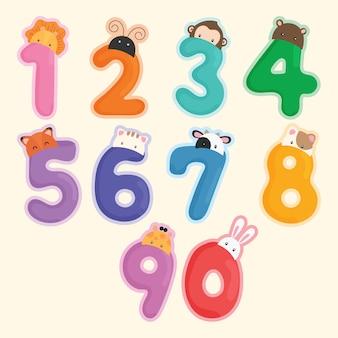 Cute animal number vector Premium Vector