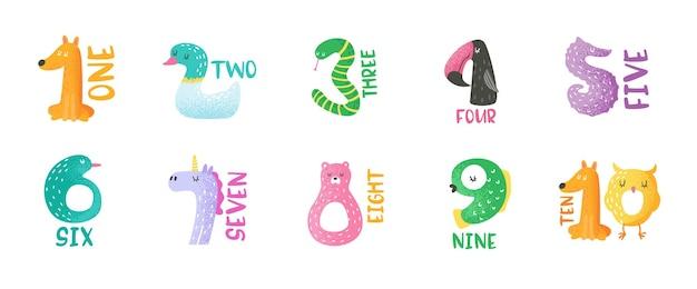 스티커, 보육 포스터, 아기 초대 카드, 전단지, 인사말, 벽 예술에 대한 1에서 9까지의 귀여운 동물 숫자 손으로 그린 벡터 그림