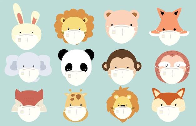 ライオン、キツネ、ウサギ、トラ、猿、キリンのかわいい動物オブジェクトコレクションは、マスクを着用します。バクテリア、コロンウイルスの蔓延防止のイラスト