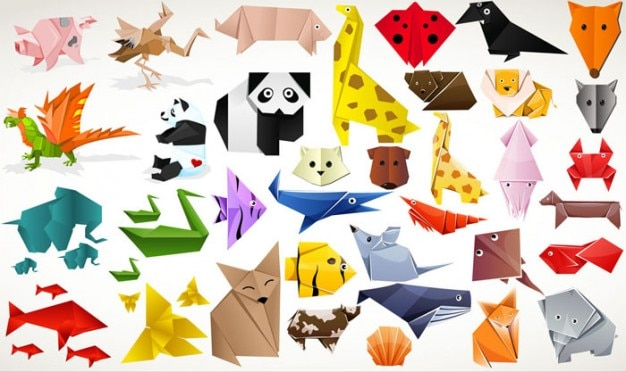 Cute animal origami material vector set