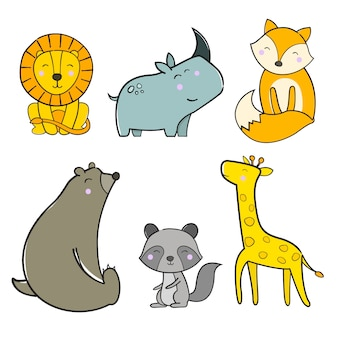 Cute animal package illustration