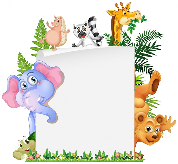 Cute animal paper template