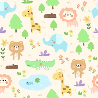 Cute animal pattern background.