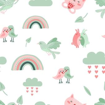 かわいい動物のパターン。鳩、鳥、猫。